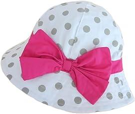 Gifts Treat Cappello Da Bambina Cappello Estivo Da Sole Boonie In Cotone Pieghevole con Grande Fiocco - (6 Mesi-5 Anni)