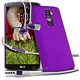 ( Purple ) LG G2 D802 Schutz- Hybrid stark Shell-Haut-Kasten-Abdeckung mit LCD-Display Schutzfolie & Aluminium In-Ear Ohrhörer Stereo-Ohrhörer mit Hands Free Mic & On-Off-Taste Einbau durch Spyrox