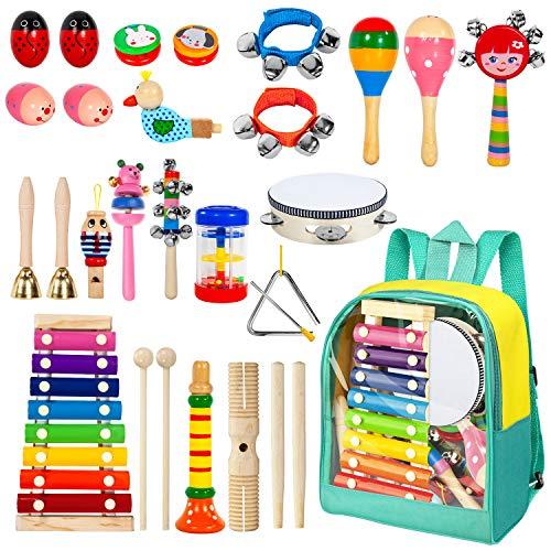 umente Holz Percussion Set Schlagzeug Schlagwerk Spielzeug Set Kinder Schlaginstrument Musikalisches Vorschulunterricht Pädagogisches Xylophone Osterei für Mädchen und Jungen ()