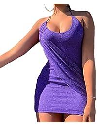 e0d3be5df7b8a Vestito a Tubino Donne Sexy Halterneck Senza Schienale Vestiti da Discoteca  Club Mini Abito da Festa