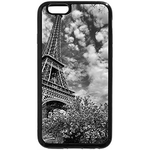 iPhone 6S funda, iPhone 6caso (negro & blanco) Árbol de Magnolia–cerca de la torre Eiffel