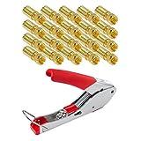 HB Digital 20 Stück PROFI Kompressionsstecker vergoldet + Kompressionszange für SAT Kabel, Koaxialkabel mit Durchmesser Ø 6.8 – 7.2 mm
