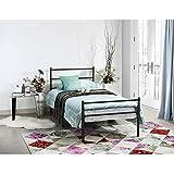Aigoo Individual cama de metal cama de día cama de negro