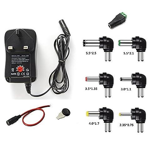 GutReise 30W 100-240V TO 3V,4.5V,5V,6V,7.5V,9V,12V UK Plug Universal Adjustable AC/DC
