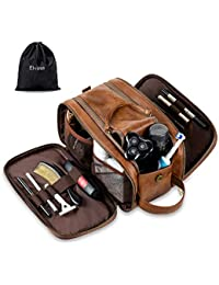 Water-Resistant Leather Toiletry Bag for Men Large Travel Wash Bag Shaving Dopp Kit Bathroom Gym Toiletries Makeup Organizer with Free Wet Dry Bag