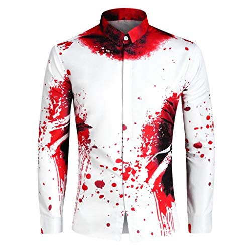 Komisch Männliche Kostüm - Orchgas Shirt Halloween Novelty Men Blood Print Long Sleeve Turn-down Collar Shirts Tops Kürbis Horror Mittelalter Kostüm Vintage Halloween Party Männlich Cosplay Party