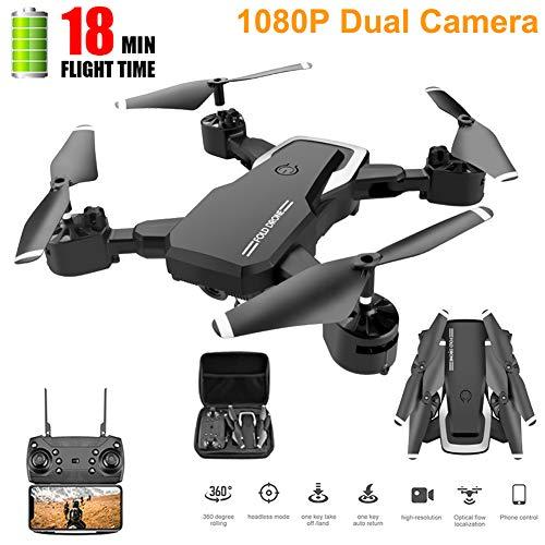 JJR/C WiFi FPV Folded Drone Quadrocopter Mit 1080P HD Kamera RC Hubschrauber,Folge Mir Flugbahn Schwerkraft-Sensor,Drohnen Geschenk Für Kinder Anfänger,Schwarz