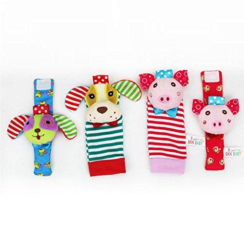 Zantec 4pcs Cartoon Infant Kleinkind Cartoon Handgelenk Bell Strumpfwaren Puppy + Ferkel Baby Tuch Spielzeug - Kleider Elmo Baby-jungen Für