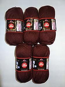 5 x 100 G himalaya everyday de fil à tricoter häckeln basteln. et anti - 100 %  acrylique couleur :  marron-bouloches