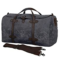 S-ZONE Vintage Waxed Leather Canvas Travel Bag Extra Large Capacity Holdall Travel Duffle Carry-on Baggage Gym Bag with Adjustable and Detachable Shoulder Strap (Gray)