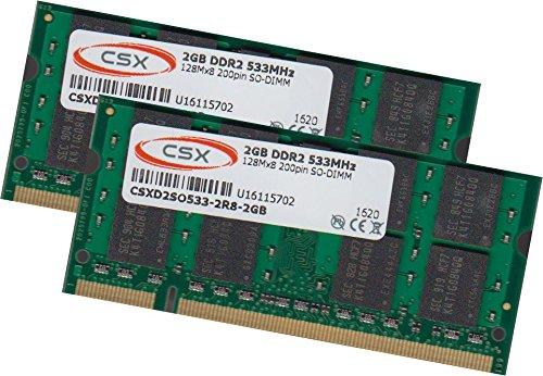 Pc4200 Ram-speicher (CSX 4Gb 2x 2Gb DDR2 533Mhz Notebook Ram Speicher Pc-4200 Arbeitsspeicher 200Pin)