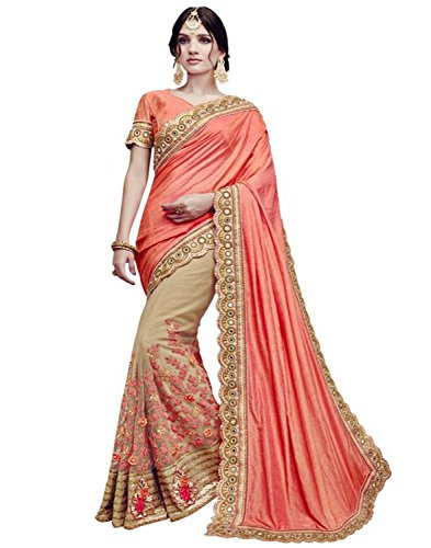 SareeShop Embroidered Multi-Coloured Half And Half Georgette Saree With Blouse Material For Party wear,Wedding,Casual sarees (Peach)