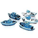 musykrafties mit Retro-Fischerboote Boot, Schiff Aquarium Terrariums Miniatur Garten Fairy Gardens Puppenhaus Dekoration Tortenaufsatz, Kunstharz, zufällige Farben