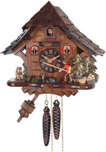 River City Clocks One Day Cuckoo Clock Cottage, Fisherman Raises Fishing Pole by River City Clocks - Cottage, Cuckoo Clock