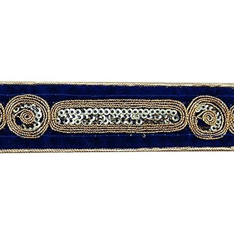 Azul bordado ajuste de la cinta de costura de 3,3 cm Sari suministro transfronterizo por el astillero