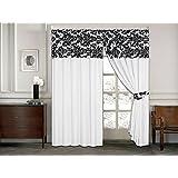 Luxus Damast Flock auf der Oberseite mit Uni Design bereit gemacht Vorhänge, Bleistiftfalten, 2Größen, Polyester, Weiß/Schwarz, 229 x 229 cm