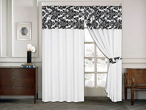 Luxury Damask Flock On The Top With Plain Design Ready Made Pencil Pleat Curtains – 2 Sizes (White Black, 66″ x 72″)