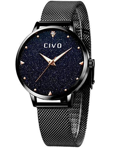 CIVO Damen Uhr Frauen Roségold Edelstahl Wasserdicht Armbanduhr Mädchen Jugendliche Einfach Lässige Modish Analoge Uhren (Schwarz)
