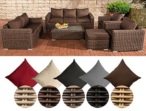 CLP Poly-Rattan Loungemöbel Set MADEIRA XL, 3er Sofa + 2er Sofa + 2x Sessel + Hocker + Tisch 110 x 60 cm Bezugfarbe: Terrabraun, Rattan Farbe braun-meliert