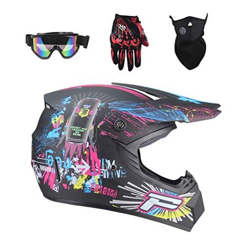 Lvguang Unisex Schutzhelm Mopedhelm Motocross Helm für Motorrad Crossbike & Motorrad Gezeichnete Gesichtsmaske & Motorradbrille & Handschuhe für Motorräder (Schwarz#6)