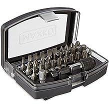 MAXKO Bit-Set, 32-Teilig, inklusive Bithalter und Adapter Vierkant auf Sechskant, für Heimwerker und Akku-Schrauber - 6 x Schlitz: 3 / 4 / 5 / 5,5 / 6 / 7, 8 x Kreuzschlitz: 4 x PH (Phillips): 0 / 1 / 2 / 3 und 4 x PZ (Pozidriv): 0 / 1 / 2 / 3, 6 x Sechskant Innen: 2 / 3 / 4 / 5 / 5.5 / 6, 9 x Torx: 10 / 15 / 20 / 20 / 25 / 25 / 27 / 30 / 40 - mit 2 Jahren Geld-zurück-Garantie