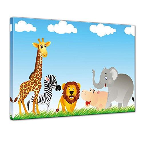 (Kunstdruck - Kinderbild Tiere Cartoon VI - Bild auf Leinwand - 70x50 cm einteilig - Leinwandbilder - Kinder - freundliche Tiere in der Savanne)