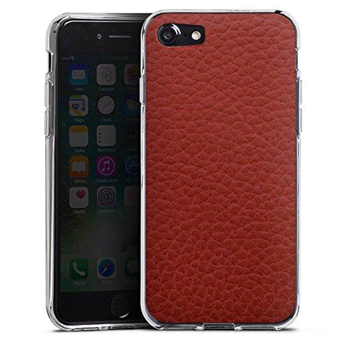 Apple iPhone X Silikon Hülle Case Schutzhülle Leder Look Rot Marsala Leather Silikon Case transparent