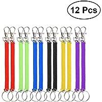 Toyvian Llavero Espiral de Plástico Elástico Retráctil Coloridos de Moda para Niños Oficina Escuela 12 Piezas (Color al Azar)