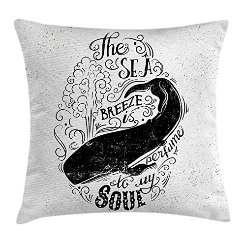 Air Breeze Marine (ZTLKFL Whale Throw Pillow Cushion Cover, Breeze is Perfume to My Soul Phrase with Vintage Label Whale Marine Life Graphic, Decorative Square Accent Pillow Case, 18 X 18 Inches, Black White)