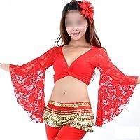 Danza Ropa Mode Danza del Vientre Disfraz Bolero ausgestellte casquillos durchbohrte Punta Tops, color Rojo - rojo, tamaño Talla única