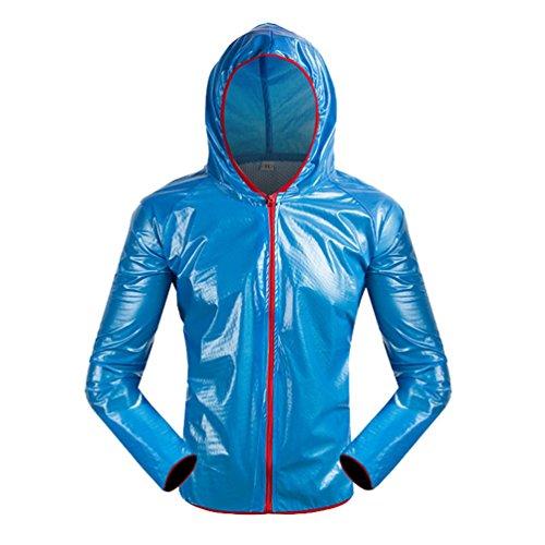 WanYang 1 Pièce Haut Vetement de Pluie Veste Pantalon Imperméable Pluie de Pluie Moto Pantalon de Pluie Vélo Bleu (Haut)