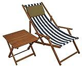 Erst-Holz® Gartenliege blau-weiß Liegestuhl Tisch Kissen Sonnenliege Deckchair Buche dunkel 10-317 T KD