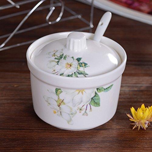 Spice Glas Keramik Einzelflasche Küche Kanister vielseitig Porzellan Jar Caddy Becher mit Deckel Apotheker Gefäß-A