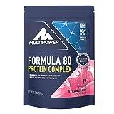 Multipower Formula 80 Protein Complex – Mehrkomponenten Protein Pulver für den Muskelaufbau – Proteinpulver mit Casein für eine langfristige Versorgung – mit cremigem Erdbeer Geschmack – 510 g