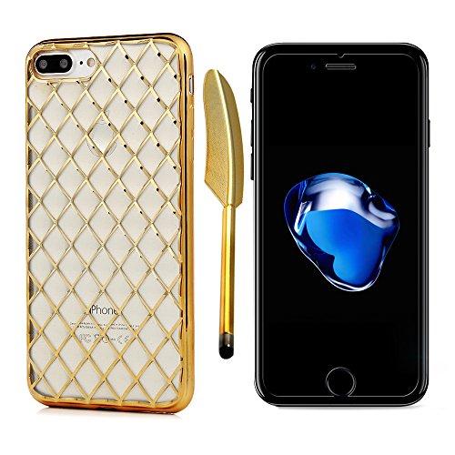 "MAXFE.CO TPU Silikon Hülle für iPhone 7 Plus 5.5"" Handyhülle Schale Etui Protective Case Cover Rück Bunt Muster Skin TPU Kantenschutz Gemalt Relief Design Schutzhülle Gold"