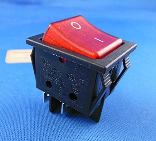 Wippschalter 2-pol EIN-AUS 250V 16A rot beleuchtet