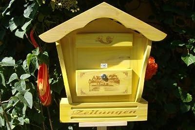 Briefkasten HBK-SD-GELB aus Holz gelb amazon hellgelb sonnengelb Sonne Briefkästen Holzbriefkästen Postkasten Spitzdach - passt auch zu vielen Vogelhäusern Vogelhaus Insektenhotel Insektenhotels Vogelhäuser aus Holz Ergänzung für Vogelhäuschen und