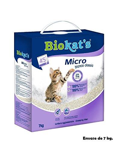 Arena para lecho gatos Biokat's Micro bianco classic 7Kg absorbente de olores