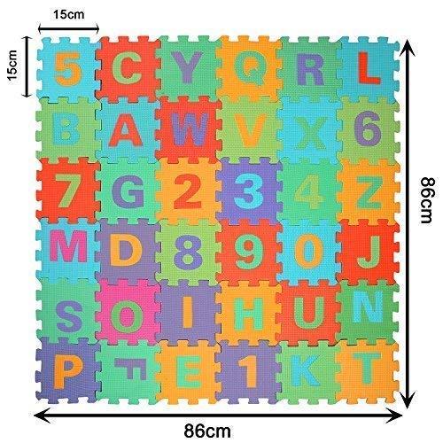 WSS - weich Baby Kinder Spielmatte Fitness Schaum Alphabet Zahlen 36 Stück je Fliese klein 15 cm x 15 cm