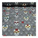 Stoff Baumwolle grau Totenkopf bunt Mexiko Tag der Toten