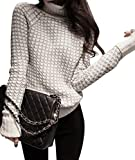 Jitong Damen Strickpullover Langarm Strickpulli Casual Rollkragen Pullover Sweater Tops Grau