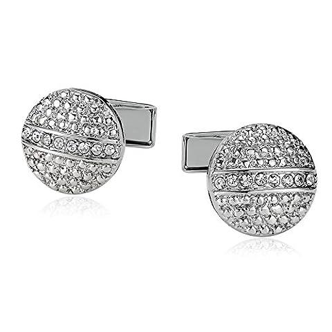 AMDXD Jewelry Stainless Steel Cufflinks for Male Round Rhinestone CZ Silver 1.5X1.5CM
