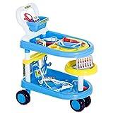 HOMCOM Kinder Arztwagen Doktor Trolley Rollenspiel Blau 47x30x55cm