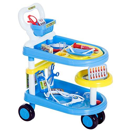Preisvergleich Produktbild HOMCOM Kinder Arztwagen Doktor Trolley Rollenspiel Blau 47x30x55cm