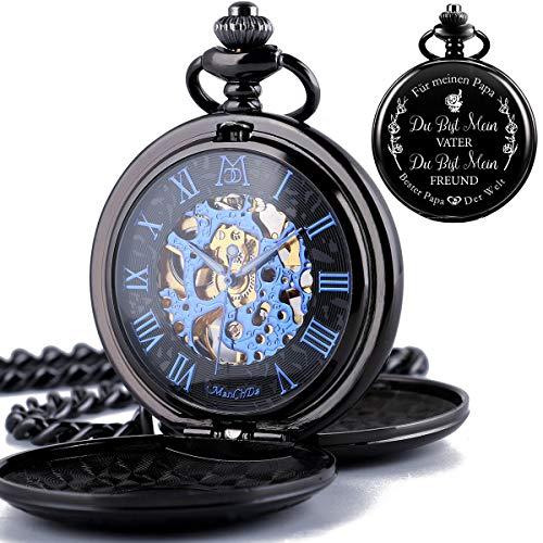 ManChDa Gravierte Taschenuhr Für Papa Geschenk, Vintage Mechanische Taschenuhren Mit Kette Für Männer, Jubiläumsgeschenk, Schöne Geschenke Für Die Familie