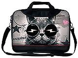 Luxburg® Luxus Designer Schultergurt Business Tragetasche mit Griff für 15Zoll Laptop–Rave Katze