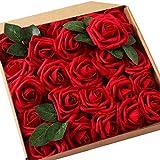 JaosWish Rose Artificielle Fausse Fleur Rouge 25 pcs Tige Feuille Ajustable Touche réelle déco Mariage Restaurant Maison Anniversaire Chambre Table Armoire