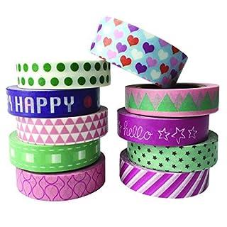 AUFODARA 10er Set Washi Tape Klebeband Masking Tape DIY Dekorative Band Multipattern (Design 1080)