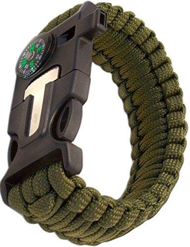 Outdoor saxx® – 4 en 1 Outdoor Survival Bracelet multi tool paracorde de survie  , thermomètre, boussole, sifflet, Vis de tournevis, couteau   Vert olive
