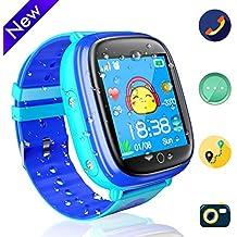 Jslai Niños Smart Watch Phone Impermeable Reloj de teléfono para niños y niñas con Linterna de